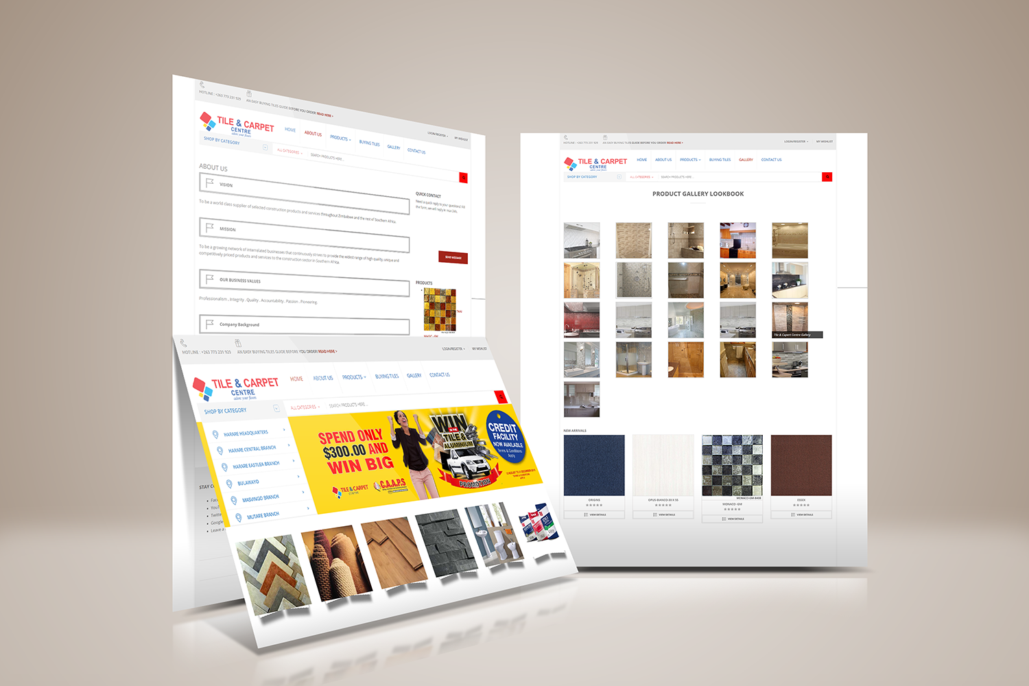 Website Development Tile & Carpet Centre showcase